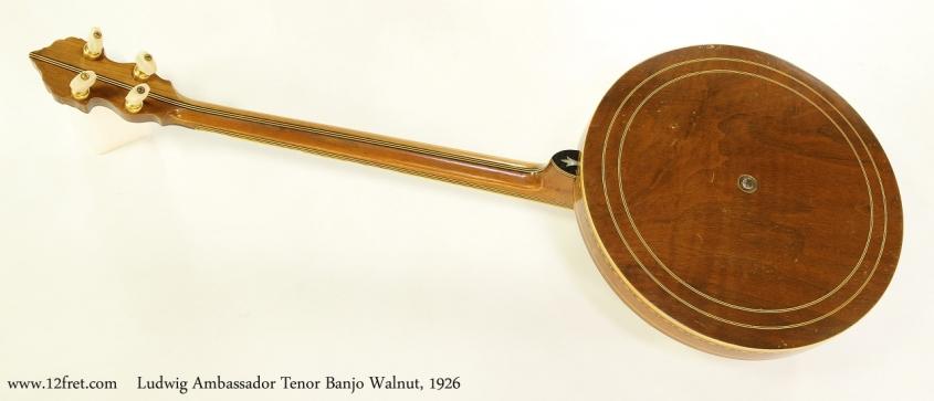 Ludwig Ambassador Tenor Banjo Walnut, 1926 Full Rear View