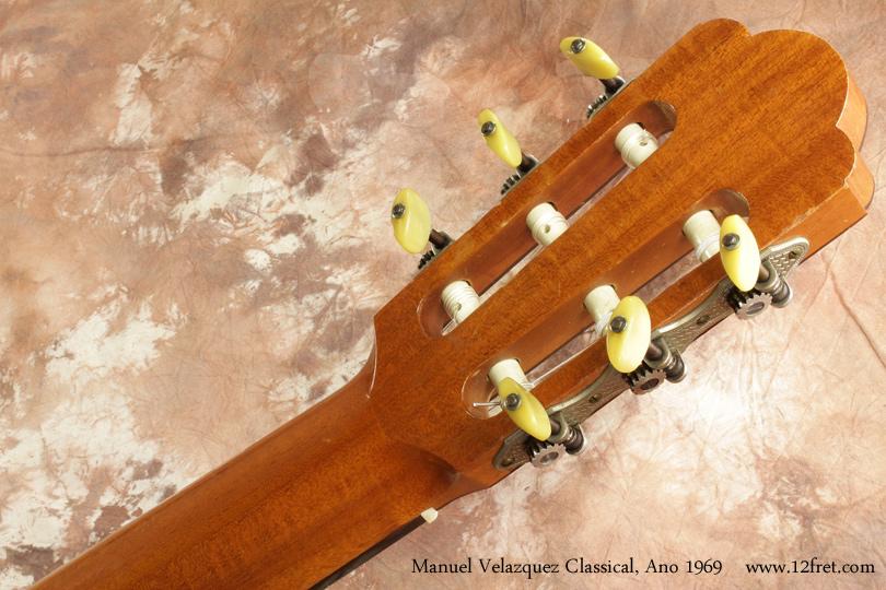Manuel Velazquez Classical Guitar Ano 1969 head rear