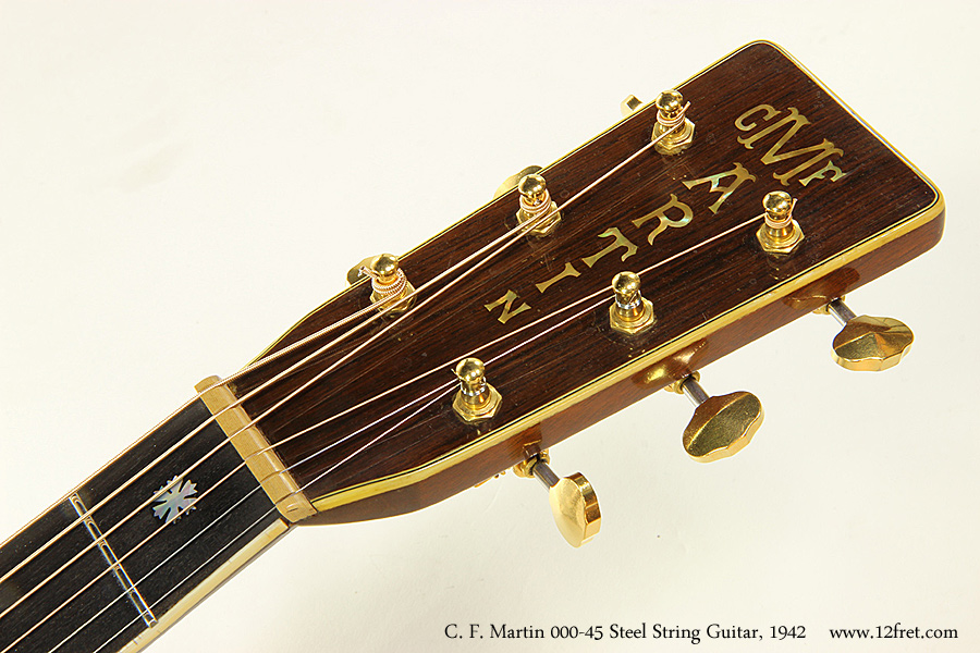 C. F. Martin 000-45 Steel String Guitar, 1942 Head Front View