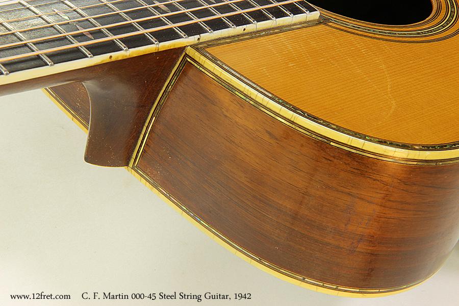 C. F. Martin 000-45 Steel String Guitar, 1942 Heel VIew