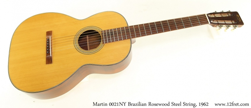 Martin 0021NY Brazilian Rosewood Steel String, 1962 Full Front View