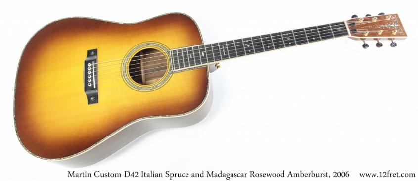 Martin Custom D42 Italian Spruce and Madagascar Rosewood Amberburst, 2006 Full Front View