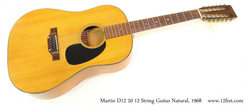 Martin D12 20 12 String Guitar Natural, 1968 Full Front View