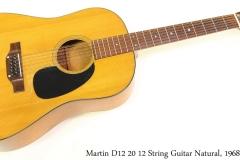 Martin D12 20 12 String Guitar Natural, 1968 Full Front View