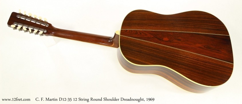 C. F. Martin D12-35 12 String Round Shoulder Dreadnought, 1969  Full Rear View