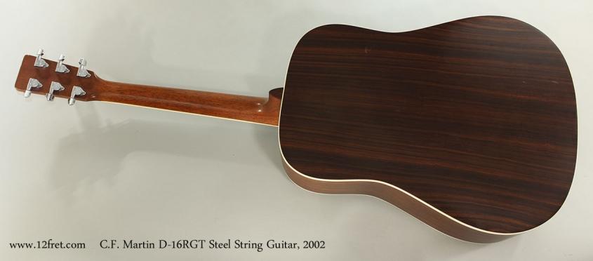 C.F. Martin D-16RGT Steel String Guitar, 2002 Full Rear View