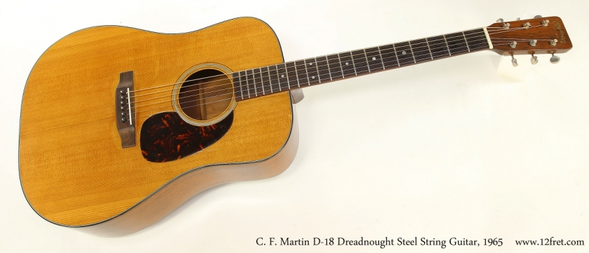 C. F. Martin D-18 Dreadnought Steel String Guitar, 1965   Full Front View