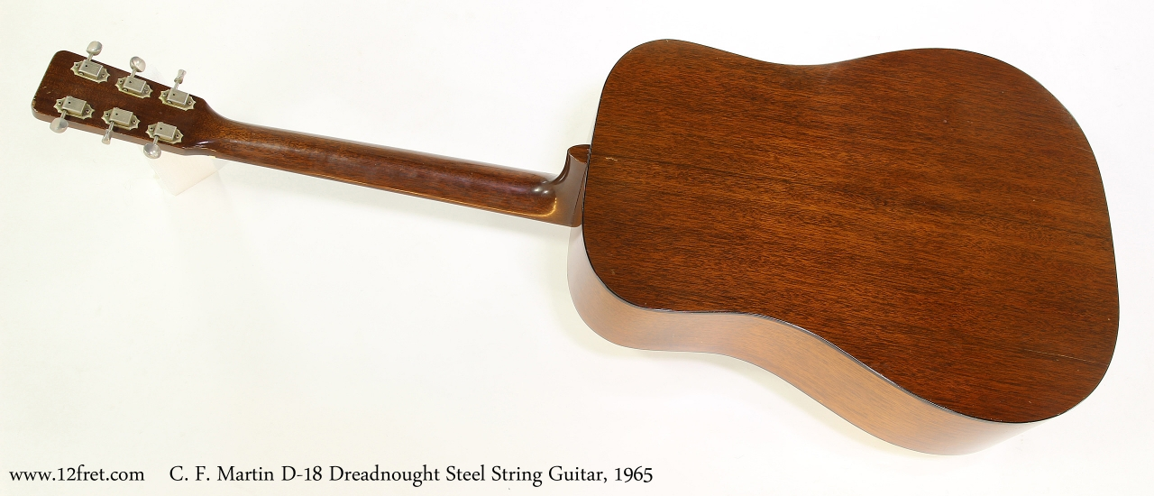 C. F. Martin D-18 Dreadnought Steel String Guitar, 1965   Full Rear View