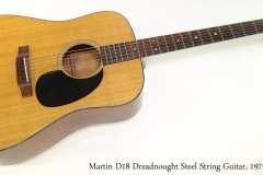 Martin D18 Dreadnought Steel String Guitar, 1975   Full Front View