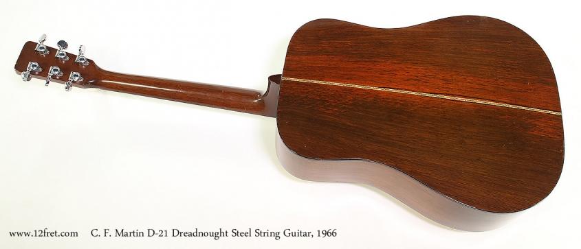 C. F. Martin D-21 Dreadnought Steel String Guitar, 1966 Full Rear View