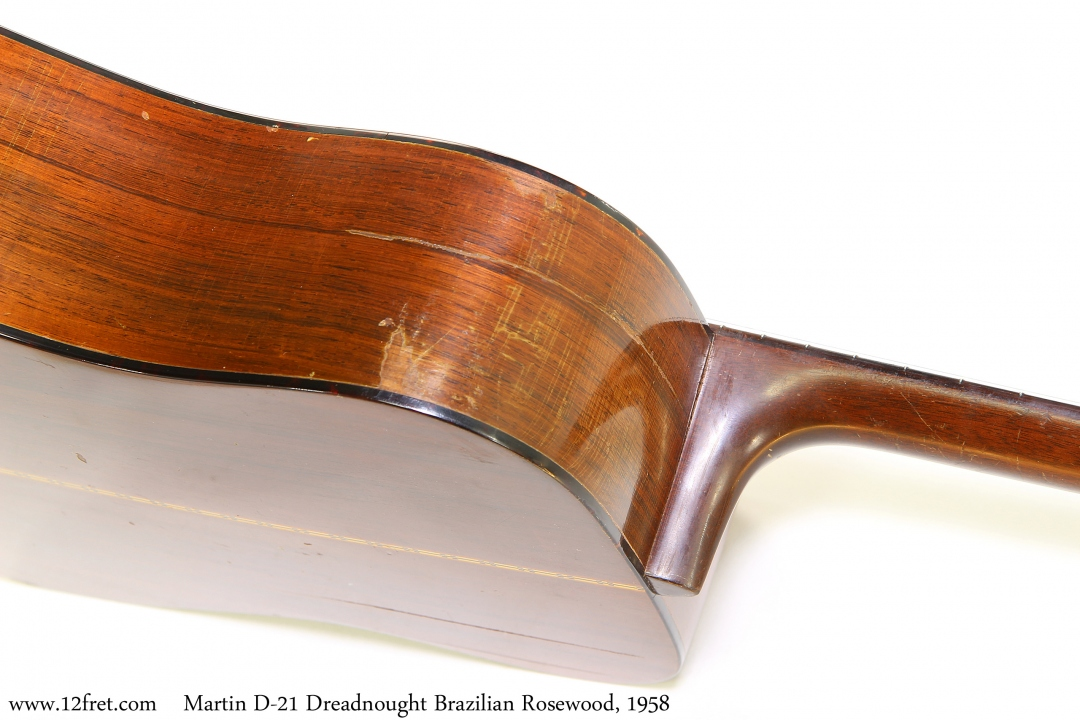 Martin D-21 Dreadnought Brazilian Rosewood, 1958 Side Repair View