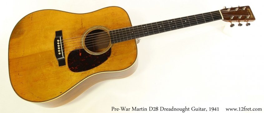Pre-War Martin D28 Dreadnought Guitar, 1941 Full Front View