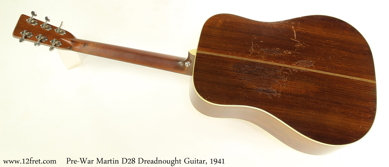 Pre-War Martin D28 Dreadnought Guitar, 1941 Full Rear View