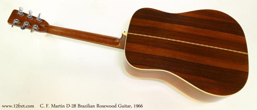 C. F. Martin D-28 Brazilian Rosewood Guitar, 1966   Full Rear View