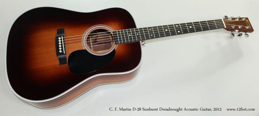C. F. Martin D-28 Sunburst Dreadnought Acoustic Guitar, 2012 Full Front View