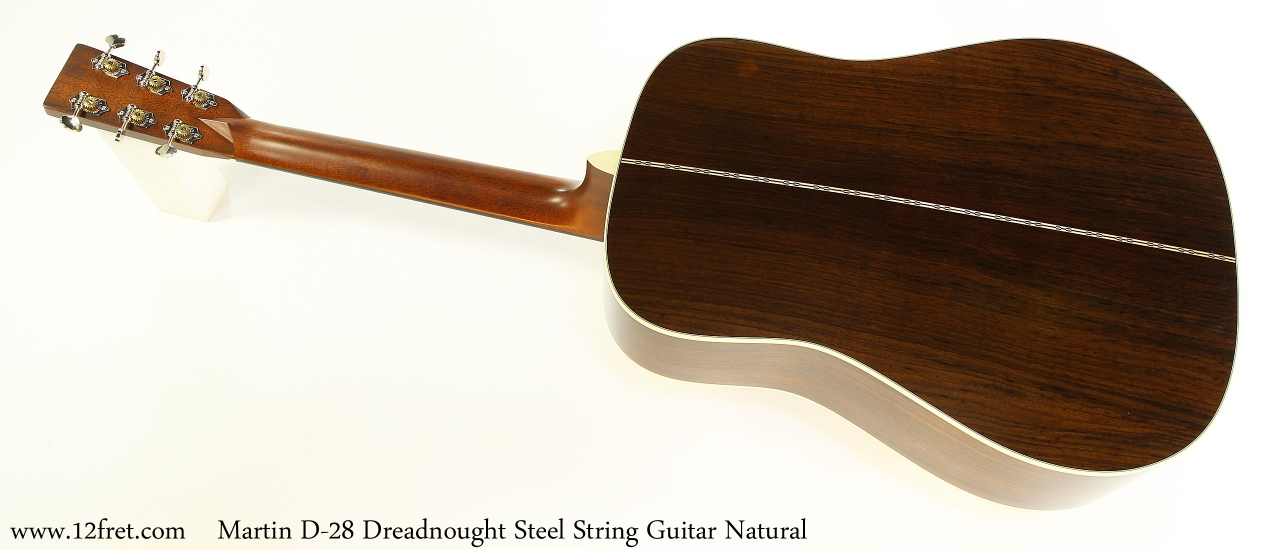 Martin D-28 Dreadnought Steel String Guitar Natural Full Rear View