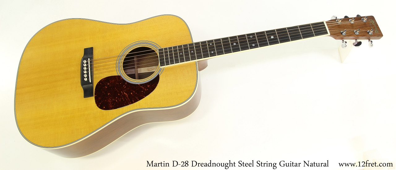Martin D-28 Dreadnought Steel String Guitar Natural Full Front View