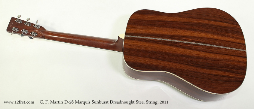 C. F. Martin D-28 Marquis Sunburst Dreadnought Steel String, 2011 Full Rear View