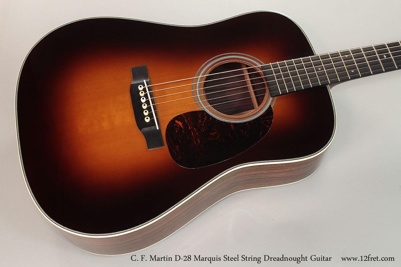 C. F. Martin D-28 Marquis Steel String Dreadnought Guitar  Top View