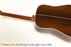 C F Martin D-41 Steel String Dreadnought Guitar 2008 Full Rear View