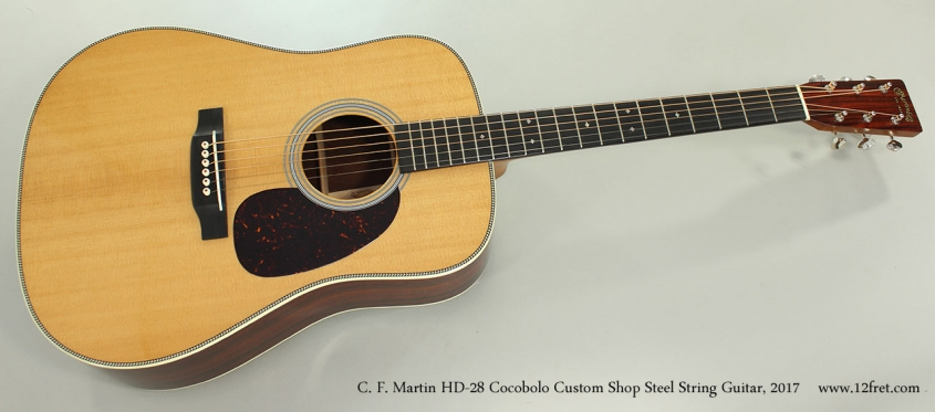 C. F. Martin HD-28 Cocobolo Custom Shop Steel String Guitar, 2017 Full Front View