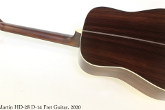Martin HD-28 D-14 Fret Guitar, 2020 Full Rear View