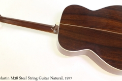 Martin M38 Steel String Guitar Natural, 1977 Full Rear View