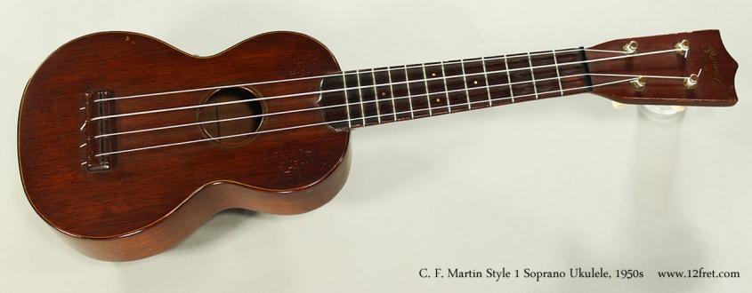 C. F. Martin Style 1 Soprano Ukulele, 1950s Full Front View