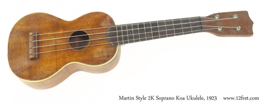 Martin Style 2K Soprano Koa Ukulele, 1923 Full Front View
