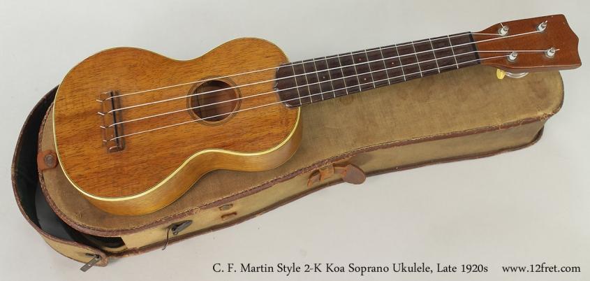 C. F. Martin Style 2-K Koa Soprano Ukulele, Late 1920s Full Front View