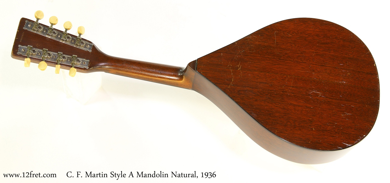 C. F. Martin Style A Mandolin Natural, 1936 Full Rear View
