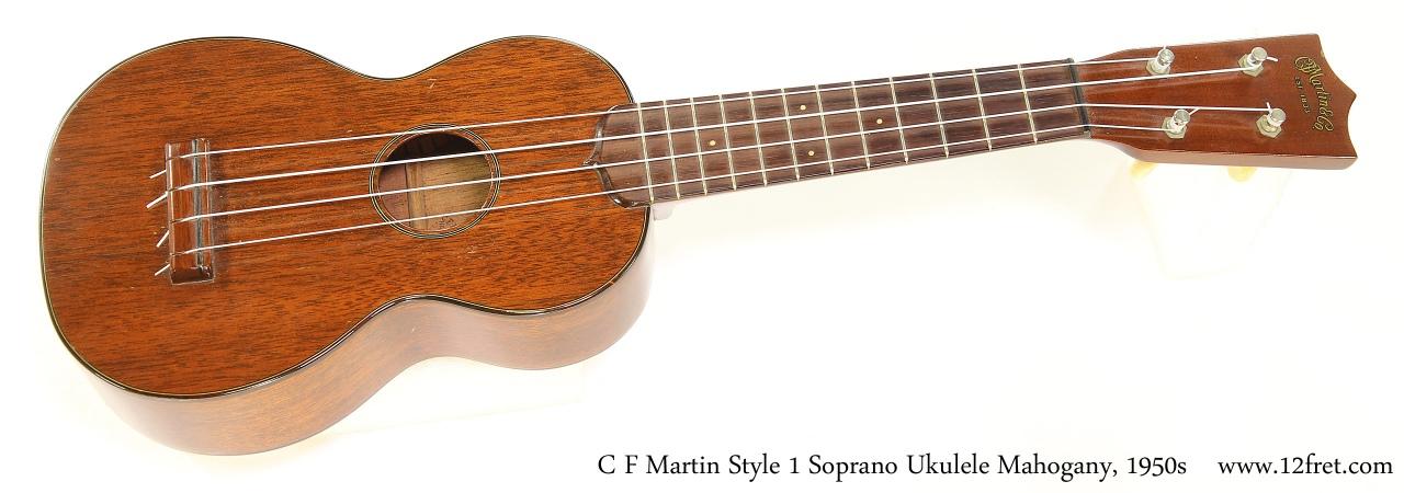 C F Martin Style 1 Soprano Ukulele Mahogany, 1950s   Full Front View