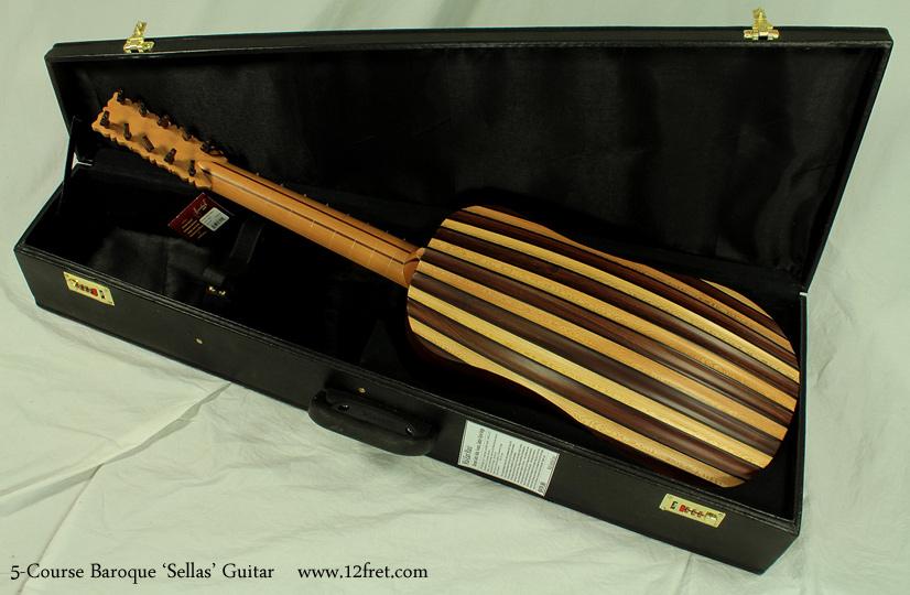 5-Course Baroque Guitar case open, back