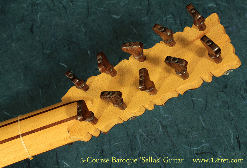 5-Course Baroque Guitar head rear