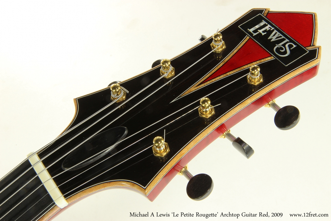 Michael A Lewis 'Le Petite Rougette' Archtop Guitar Red, 2009 Head Front View