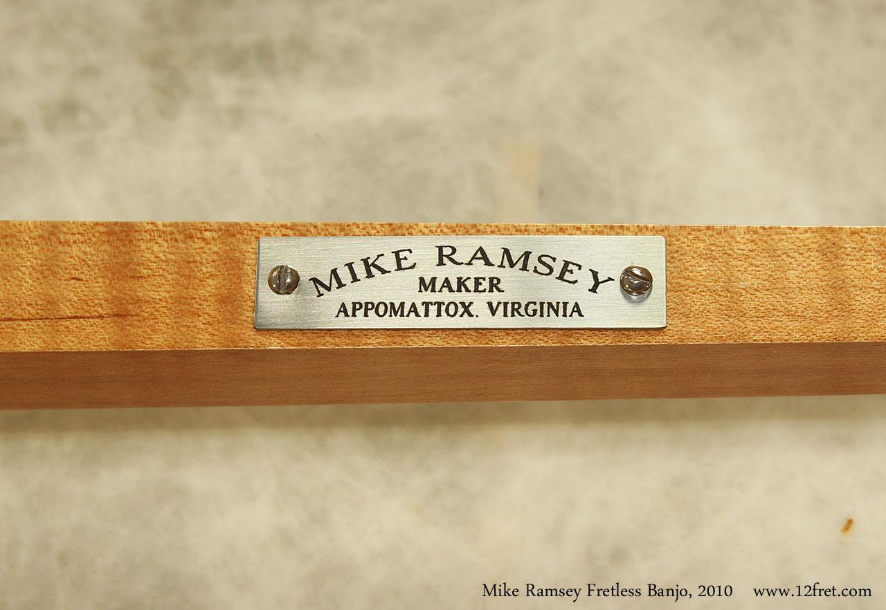 Mike Ramsey Fretless Banjo, 2010 Label