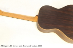 Scott Milligan L-00 Spruce and Rosewood Guitar, 2018   Full Rear View