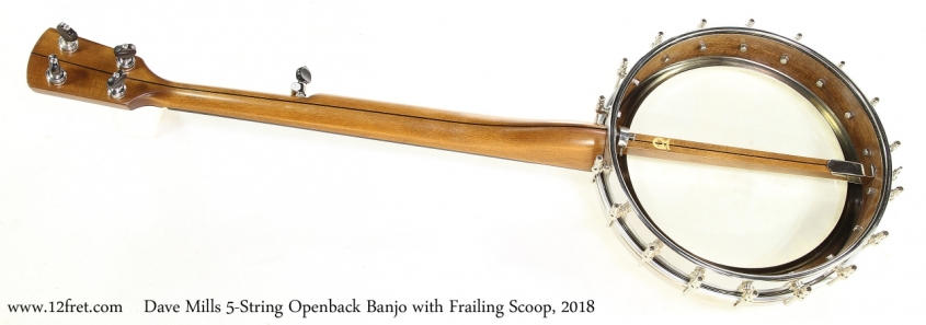 Dave Mills 5-String Openback Banjo with Frailing Scoop, 2018   Full Rear View
