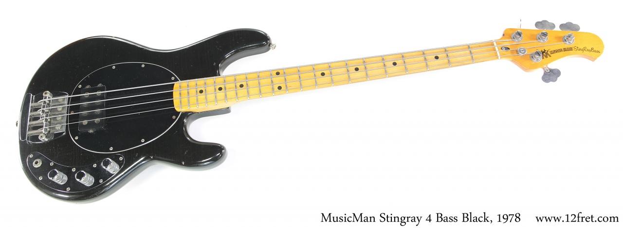 MusicMan Stingray 4 Bass Black, 1978 Full Front View