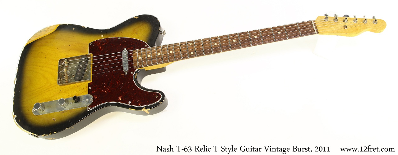 Nash T-63 Relic T Style Guitar Vintage Burst, 2011 Full Front View