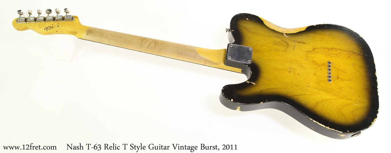 Nash T-63 Relic T Style Guitar Vintage Burst, 2011 Full Rear View