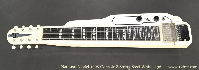 National Model 1008 Console 8 String Steel White, 1961 Full Front View