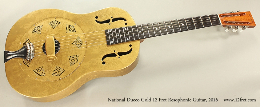 National Dueco Gold 12 Fret Resophonic Guitar, 2016 Full Front View