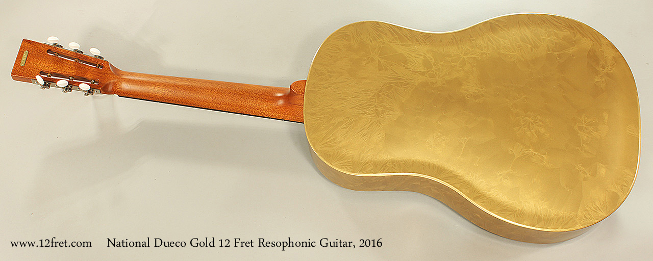 National Dueco Gold 12 Fret Resophonic Guitar, 2016 Full Rear View