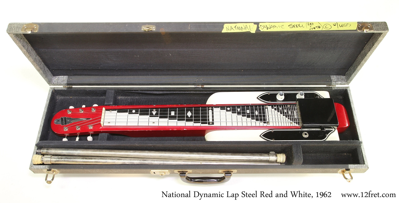 National Dynamic Lap Steel Red and White, 1962 Case Open View