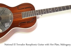 National El Trovador Resophonic Guitar with Hot Plate, Mahogany, 2015  Full Front View