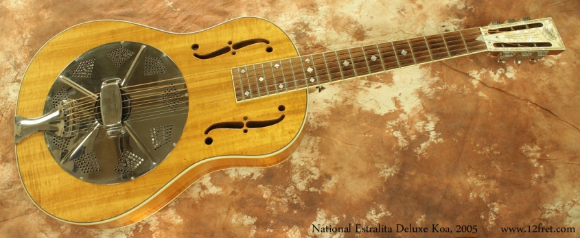 National Estralita Deluxe Koa Resophonic Guitar 2005 full front view
