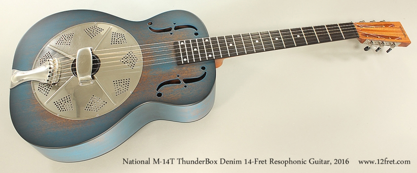 National M-14T ThunderBox Denim 14-Fret Resophonic Guitar, 2016 Full Front View