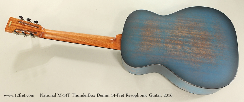 National M-14T ThunderBox Denim 14-Fret Resophonic Guitar, 2016 Full Rear View