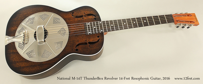 National M-14T ThunderBox Revolver 14-Fret Resophonic Guitar, 2016 Full Front View